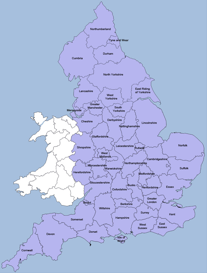 County Map Of England.Primary And Secondary School League Tables For English Counties