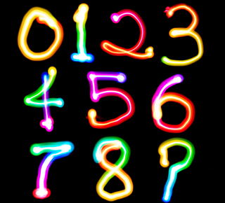 Fluorescent numbers from 1 to 9 on a blackboard
