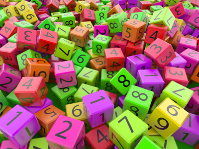 Colourful number blocks scattered randomly