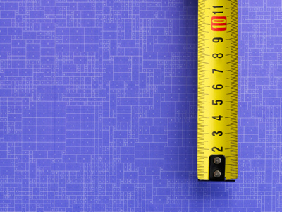 A yellow tape measure on a purple background