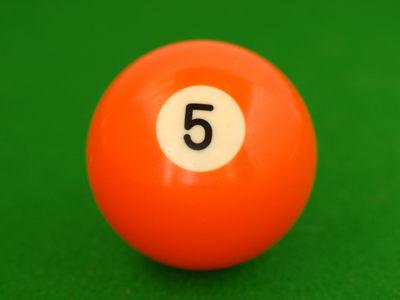 An orange five-ball from pool