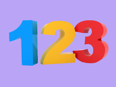 The numbers 1, 2 1nd 3 on purple background