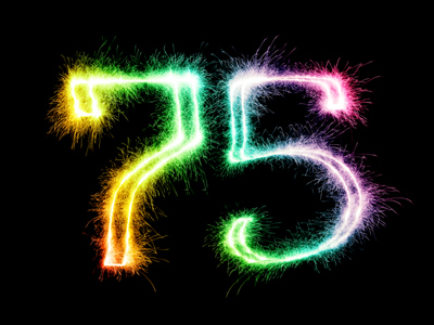The number 75 written in fireworks