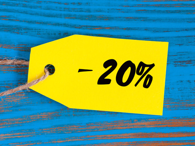 A label showing 20% discount.