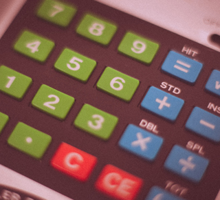 Colourful calculator emphasising multiplication
