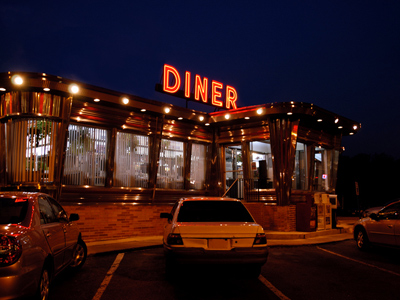 Diner lit up at night