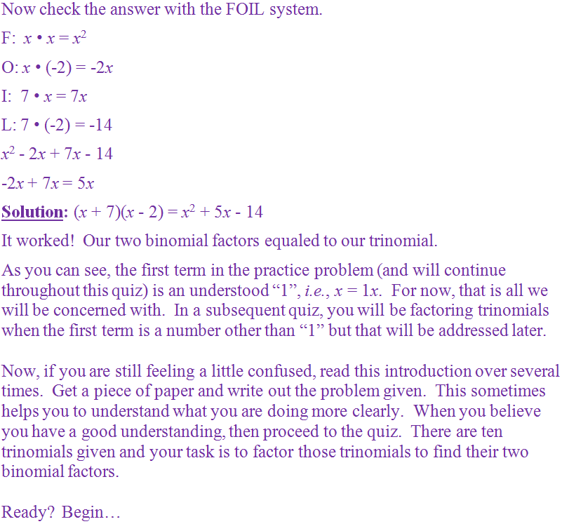 Grades 6 7 and 8 Math Middle School – Factoring Trinomials Worksheet with Answers