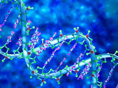 Three-dimensional DNA on blue background