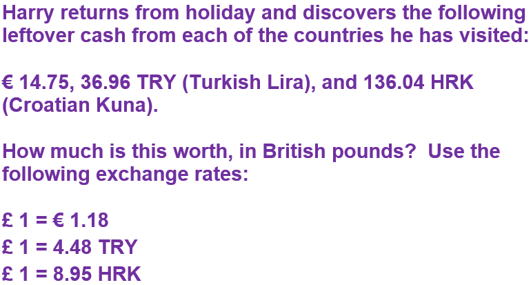 GCSE foreign currency and exchange rates - euros and dollars