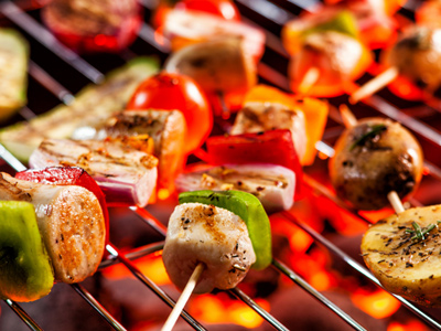 A colourful barbecue (abbreviation = BBQ)
