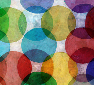 Colourful, overlapping circles artistically displayed