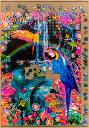 Colourful Jigsaw Puzzle Of Parrots