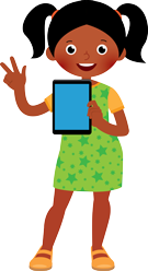 Girl With Tablet Playing Quizzes Looking Happy