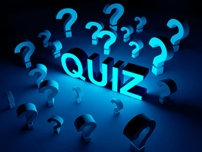 Question marks surrounding the word 'Quiz'