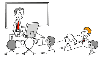 Teacher Standing in Front of Class Cartoon