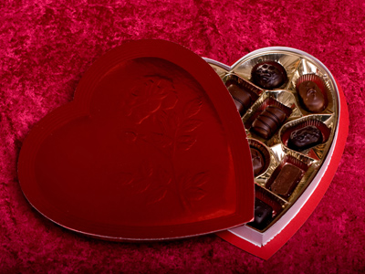 A heart-shaped box of chocolates