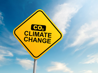 Warning sign of carbon dioxide and climate change