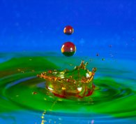Colourful chemical droplets falling into a pool