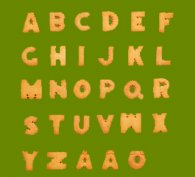 Letters of the alphabet written on a board