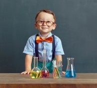 Budding scientist with laboratory equipment