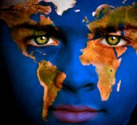 Blue human face with superimposed world map